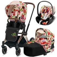 Коляска Cybex Priam 3 в 1 Blossom Light шасі Rosegold автокрісло Cloud Z i-Size