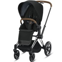 Коляска Cybex Priam Deep Black шасі Chrome Brown