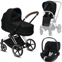 Коляска Cybex Priam 3 в 1 Deep Black шасі Chrome Brown автокрісло Cloud Z i-Size