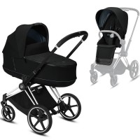 Коляска Cybex e-Priam 2 в 1 Deep Black шасі Chrome Black
