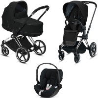 Коляска Cybex Priam 3 в 1 Deep Black шасі Chrome Black автокрісло Cloud Z i-Size