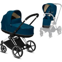 Коляска Cybex e-Priam 2 в 1 Mountain Blue шасі Chrome Black