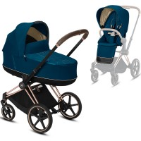 Коляска Cybex e-Priam 2 в 1 Mountain Blue шасі Rosegold